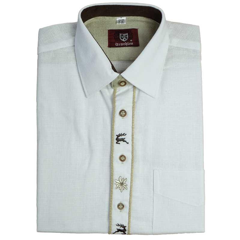 09134326d00 SLAVNOSTNÍ myslivecká košile - bílá ozdobnou výšivkou