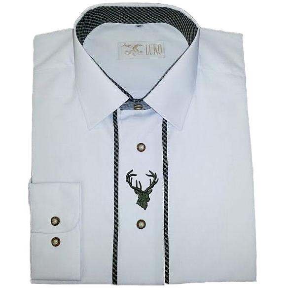 fc9a5de2266 SLAVNOSTNÍ myslivecká košile - bílá s výšivkou jelena